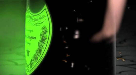 dom perignon bottle lit up