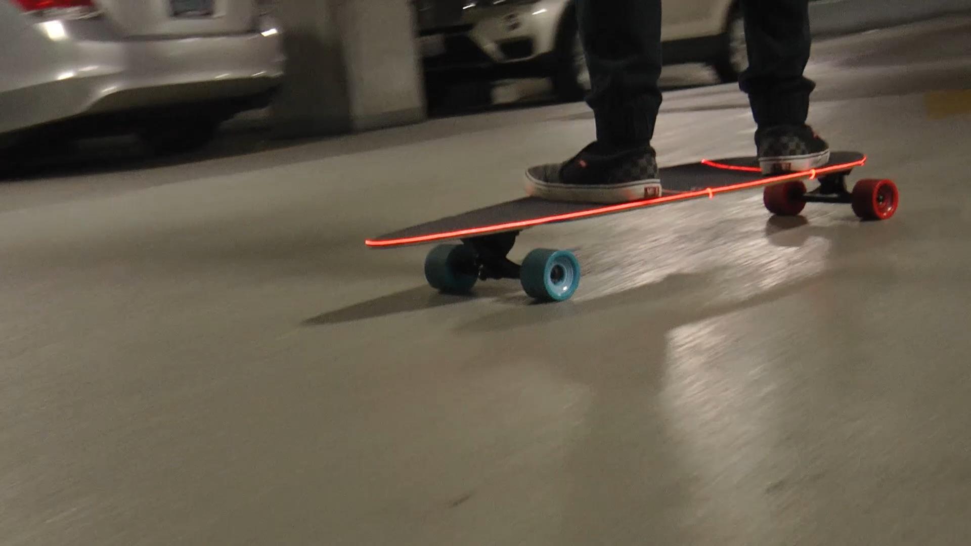 laser wire on a skateboard