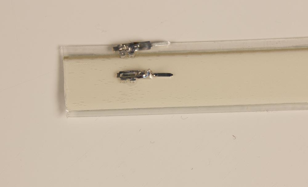 close up of el tape and crimp connectors