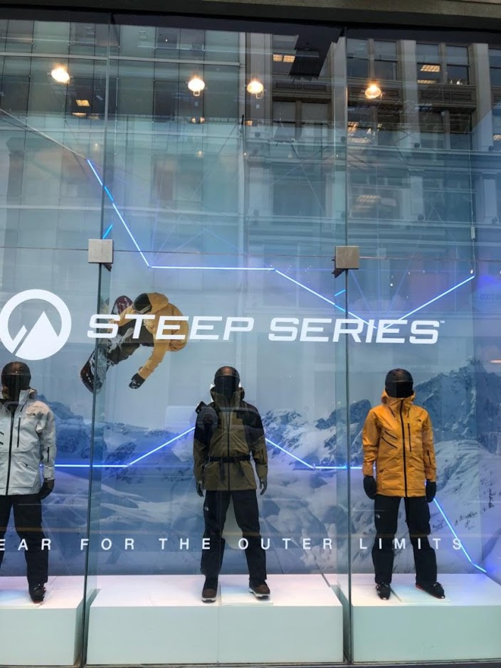 north face retail display with Pixel-Free LED Lighting