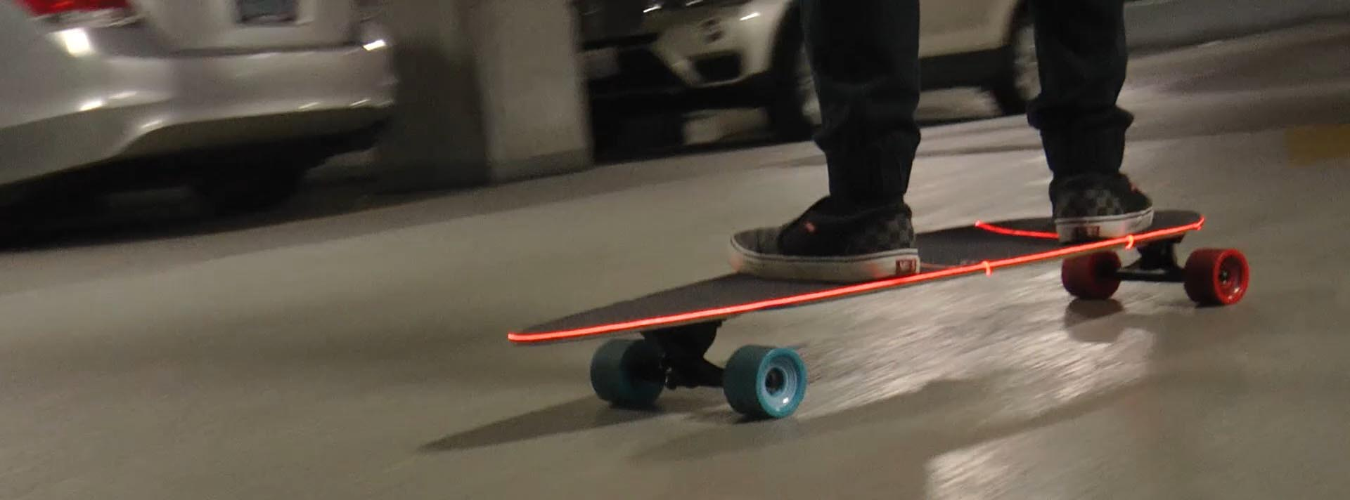 laser wire integrated onto skateboard