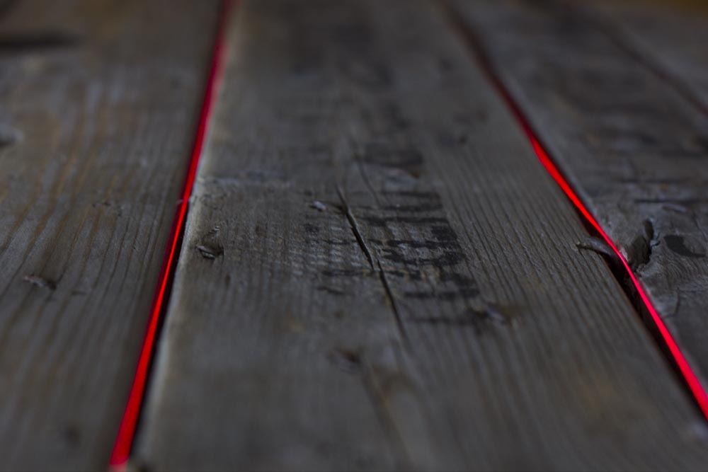 laser wire embedded into wood