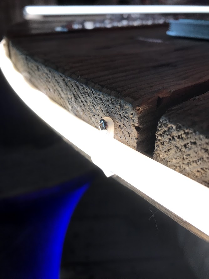 pixel-free led mounted on wood